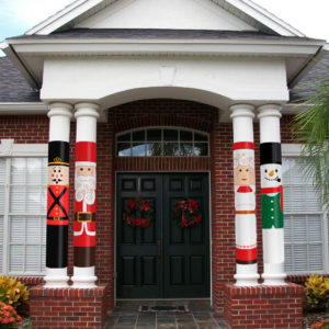 Holiday Snowman Column Wrap - AllenHomeDesign